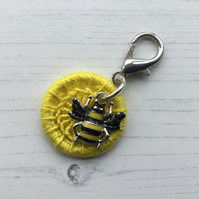 Bag Charm with a Yellow Dorset Button and Bumble Bee