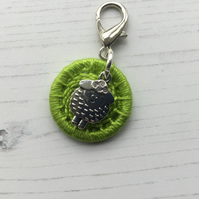 Bag Charm with a Green Dorset Button and Sheep Charm
