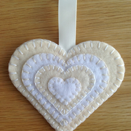 Beige & White Felt Heart Hanging Decoration - Favours - folksywedding