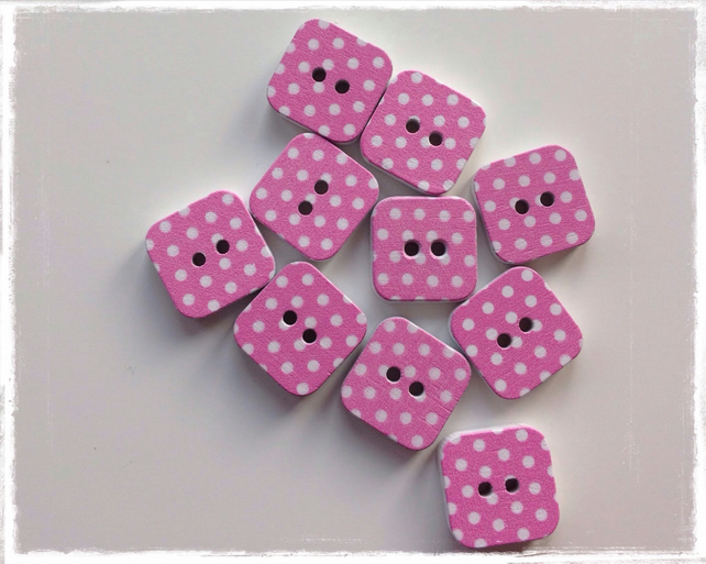 10 x Square Patterned Wooden 2 Holed Button Light Pink