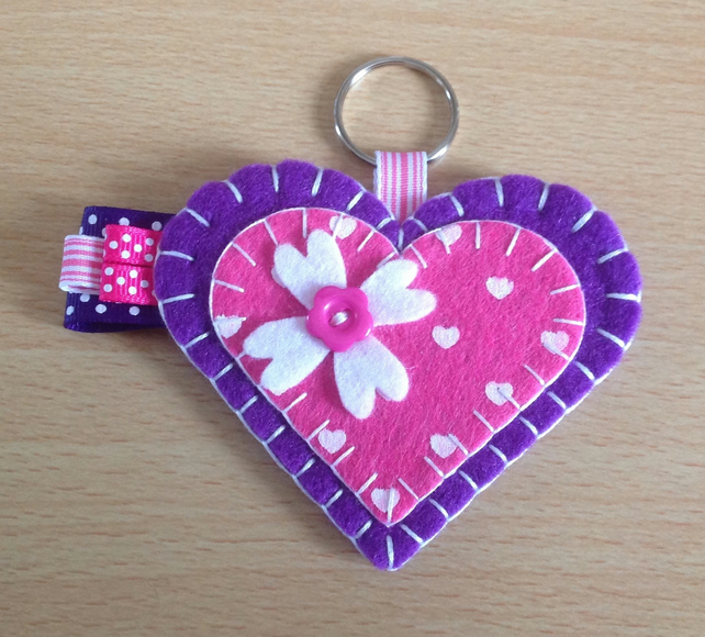 Purple & Pink Felt Heart Keyring Bag Charm