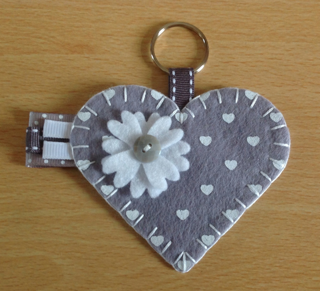 Grey & White Felt Heart Keyring Bag Charm