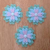 3 x Die-cut Flowers Lilac, Blue, Green