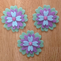 3 x Die-cut Flowers Purple, Blue, Green