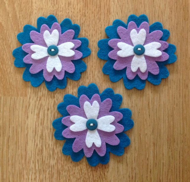 3 x Die-cut Flowers White, Purple, Teal