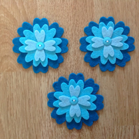 3 x Die-cut Flowers Blue, Teal