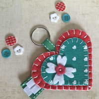 Coral & Green Felt Heart Keyring Bag Charm