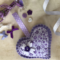 Lilac Purple Felt Heart Door Hanging Decoration