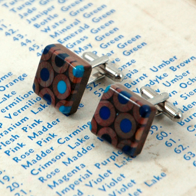 upcycled blue pencil cufflinks