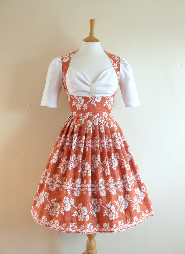 Terracotta Floral Print Milkmaid Dress- Made by Dig For Victory