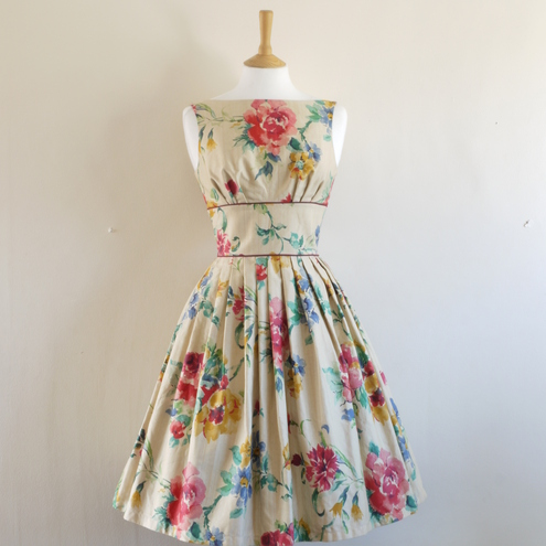 Watercolour Rose Print Prom Dress- Made by Dig For Victory