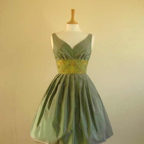 Misty Green Pure Silk Taffeta Prom Dress - made by Dig For Victory