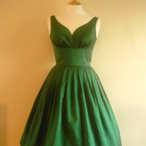 Emerald Green Taffeta Prom Dress - Made by Dig For Victory