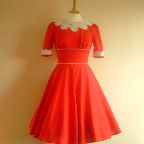 Red Linnen Prairie Dress - Made by Dig For Victory