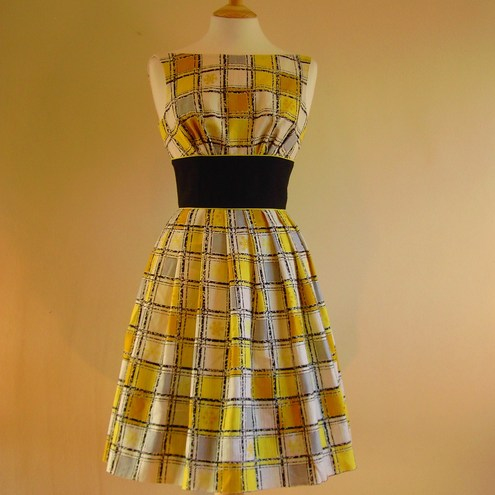 Lemon Yellow Checked Prom Dress - Made by Dig For Victory