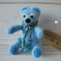 Little-Miniature Needle Felted Keepsake-Memory Box-Christening Teddy Bear.