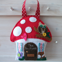 Personalised Felt Toadstool-Mushroom Door-Room Hangers.