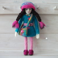 Needle Felted Keepsake - Memory Box - Tooth Keeper - Hippy Doll 'Madeline'.