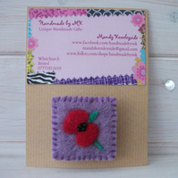 Needle Felted Poppy Brooch.