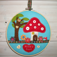 REDUCED Personalised Toadstool Woodland Wall or Door 8 inch Wooden Hoop.