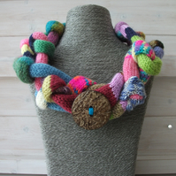 REDUCED Hand knitted one off design neck cowl scarf