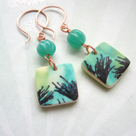 Green stem earrings - polymer clay