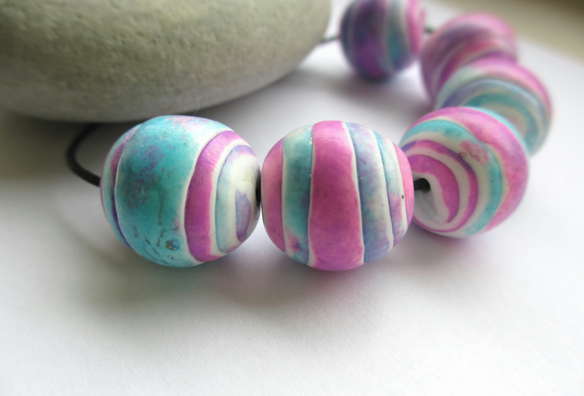SALE Pink and Turquoise roll up beads - polymer clay
