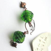 Green Glass and Copper earrings
