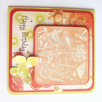 Flowers Birthday card - orange and lemon