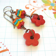 Red Ceramic Flower earrings