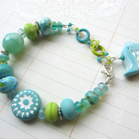 Aqua and Lime Birdy bracelet