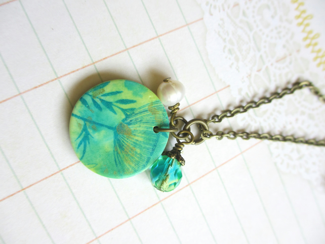 Teal Green Floral necklace