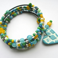 Fun and Frivolous Bracelet - turquoise and green