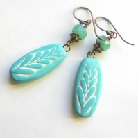 Turquoise Dangle Earrings - polymer clay SALE