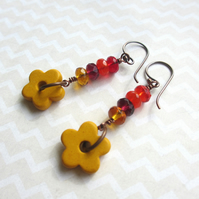 Autumn Jewel Earrings - yellow flower