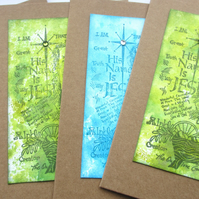 Prince of Peace cards - set of 4 blue and green SALE 3.00