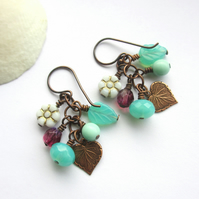 Mint Green and Purple Cluster Earrings