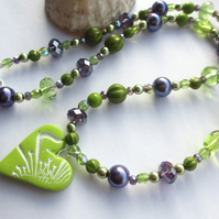 Lime and Blackcurrant Heart Necklace
