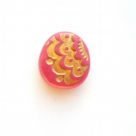 Large Pink and Gold Bead