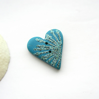 Peacock Blue Heart Button