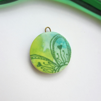 Round Flower Design Charm - Green