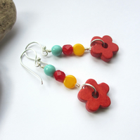 Red Flower Bright Earrings