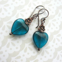 Teal Blue Heart Earrings