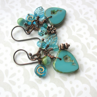Turquoise Heart Cluster Earrings