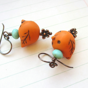 Orange Bird Earrings