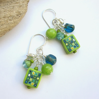 Lime Cluster Earrings
