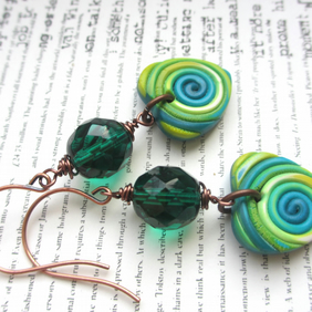 Green String Heart Earrings