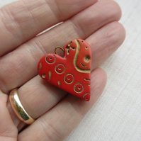 Dark Red Patterned Heart Pendant