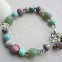 Pastel Mint and Purple Bracelet