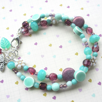 Mint and Purple Two Strand Bracelet